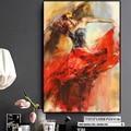 Абстрактная Танцующая балерина девушка картина маслом на холсте скандинавские плакаты и принты Настенная картина для гостиной