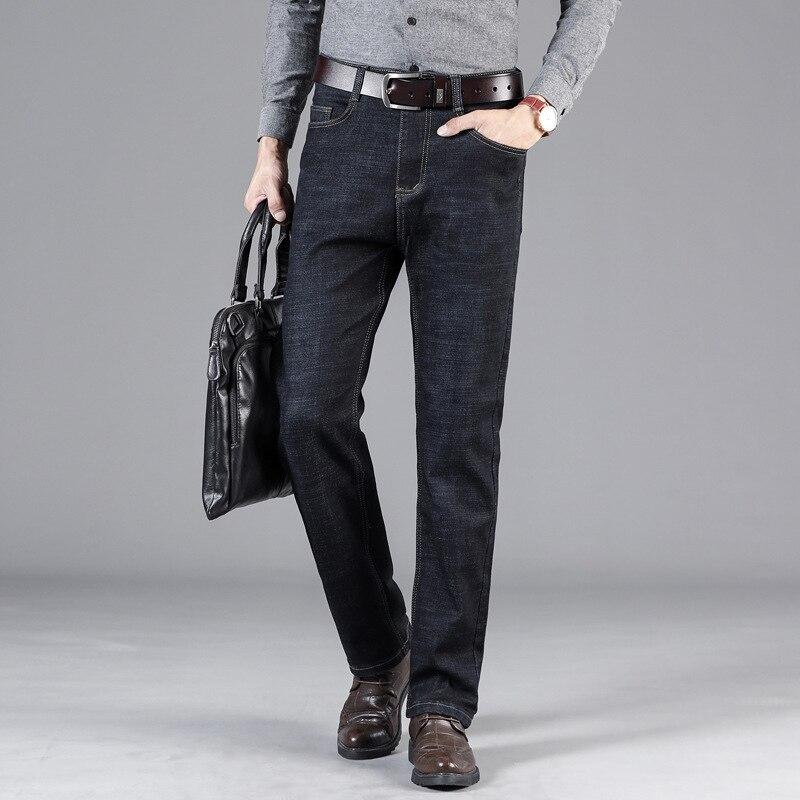 2019 New Classical Men's Business Jeans Fashion High Waist Casual Jeans Men Straight Fit Denim Trousers hombre Long Smart Pants