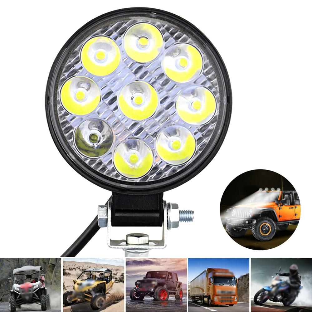 Round 27W LED Work Light 12V 24V Off-Road Flood Spot Lamp For Car Auto SUV ATV 4WD Truck Tractor Off-road 3030 Chip Spot Light