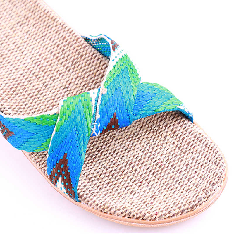 Yaz spor ayakkabı kadınlar için plaj sandaletleri Unisex erkekler açık ayakkabı keten çapraz kemer plaj sandaletleri Sneakers