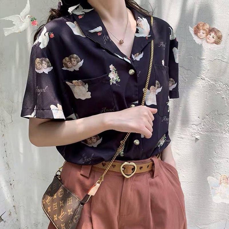 Deeptown Print Blouse Shirts Tops Women Angle-Pattern Vintage White Korean Summer Loose