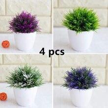 4 pçs planta artificial bonsai simulação plástico pequeno vaso de árvore planta vaso ornamento para casa tabl decoração do jardim do hotel