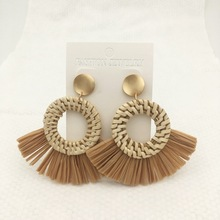 Bohemia Round Rattan Drop Earrings  Statement Lafite Earring straw earrings Handmade Tassel