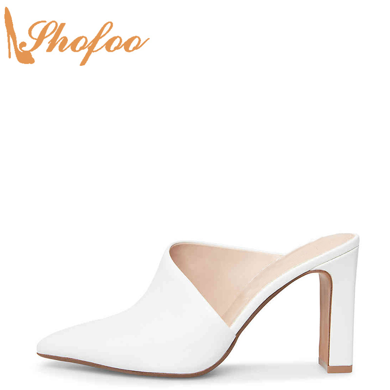 White High Square Heels Sandals Woman Mules Open Toe Slippers Large Size 11 115 For Ladies Summer Shoes Fashion Holiday Shofoo