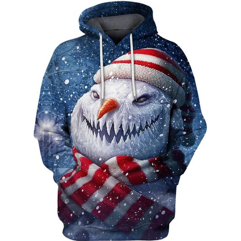 PLstar Cosmos fantasy christmas Snowman  3d hoodies/shirt/Sweatshirt Winter long sleeve Pullover Fashion Harajuku streetwear