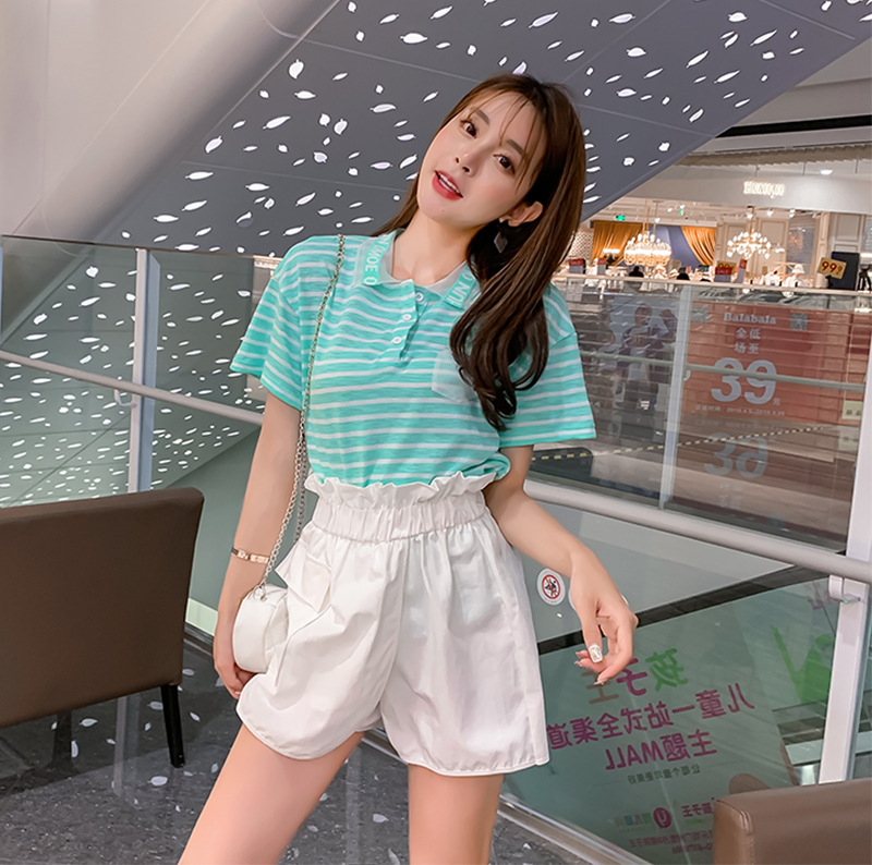 Stripes INS Fashion Loose-Fit Half Sleeve T-shirt + Irregular A- Line Skirt Cowboy Short Skirts WOMEN'S Suit