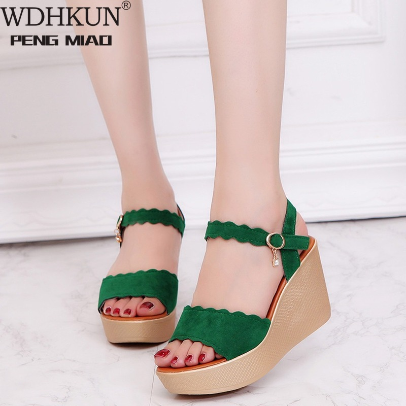 Newest Women Wedges Sandals Peep Toe Beach Sandals Rome Buckle Strap Wedges Women Casual Shoes Fashion Solid Wedges Shoes Woman