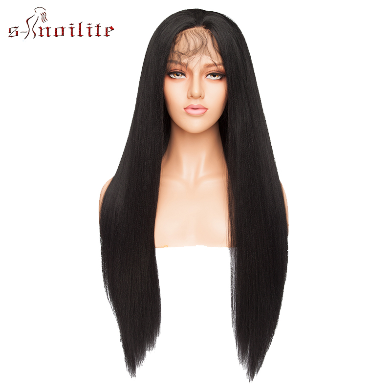 S noilite 26'' Ombre Lace Front Wig 12.5''x3'' Yaki Straight Synthetic Hair Lace Wig Long Wigs For Women Cosplay Halloween Wigs