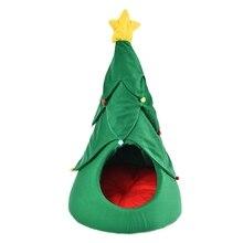 Креативная Рождественская елка полузакрытое теплое дышащее гнездо для домашних животных кошачий наполнитель собачий домик