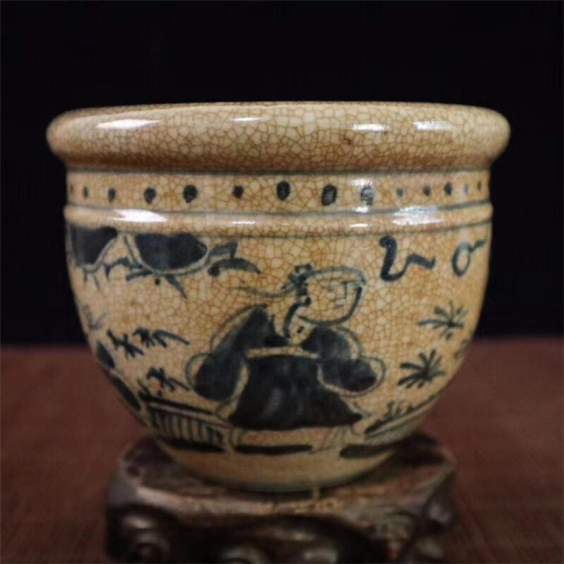 China Jingdezhen Classic Blue and White Porcelain Dragon Temple Ceramic Ginger Jar Vase Painted Two People Play Chess