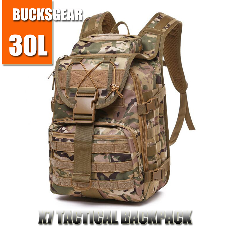 BUCKSGEAR outdoor camping camouflage pack molle system 30l military assault rucksack X7 army fans rush EDC tactical backpack