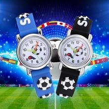 Girls Watch Clock Football Kids Children Hodinky Ceasuri Gift Soft-Silicone Relogio 3D