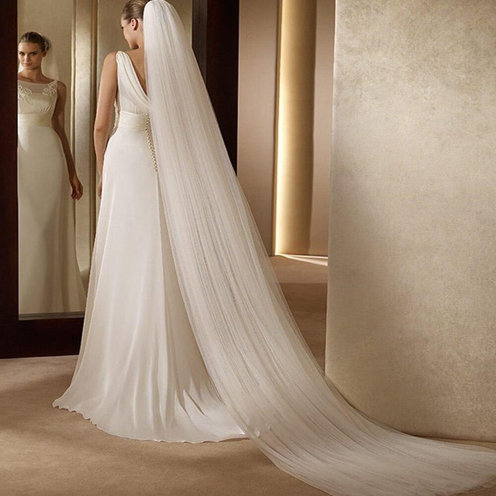Фата свадебная двухслойная длиной 2,5 м, Тюлевая с гребнем, для невесты, свадебные аксессуары, Белый/цвет слоновой кости, 2T
