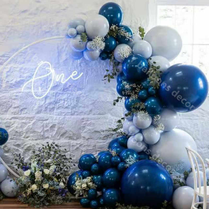 Baby Blue and White Balloons Arch Garland Kit-Macaron Blue Balloon White Balloon Globos Para Bautizo 136Pcs for Baby Shower,Christmas,Birthday,Graduation,Hawaii,Wedding,Tropical Party.