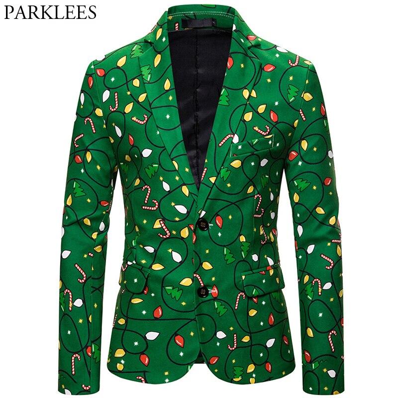 Christmas Blazer Men 3D Cartoon Print Fashion Men Blazers New Year Mens Blazer Jacket Festival Party Men Suit Jackets Masculino