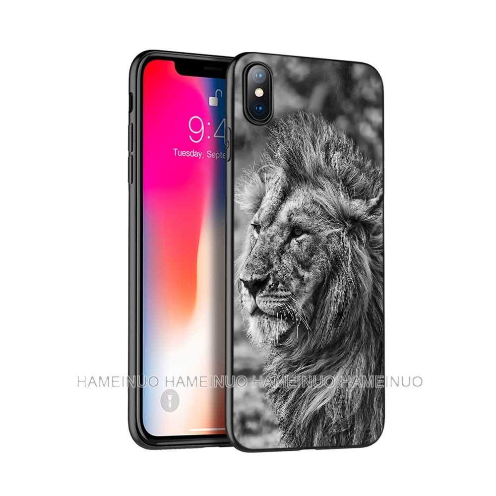 أسود tpu حالة ل iphone 5 5s se 6 6s 7 8 زائد x 10 حالة السيليكون غطاء ل iphone XR XS 11 برو ماكس حالة كبيرة الأسد الحيوان