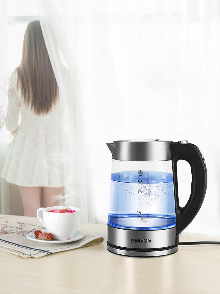 BioloMix 1.8L синий светодиодный светильник цифровой стеклянный чайник 2200 Вт чайник для чая и кофе с контролем температуры и функцией сохранения ...
