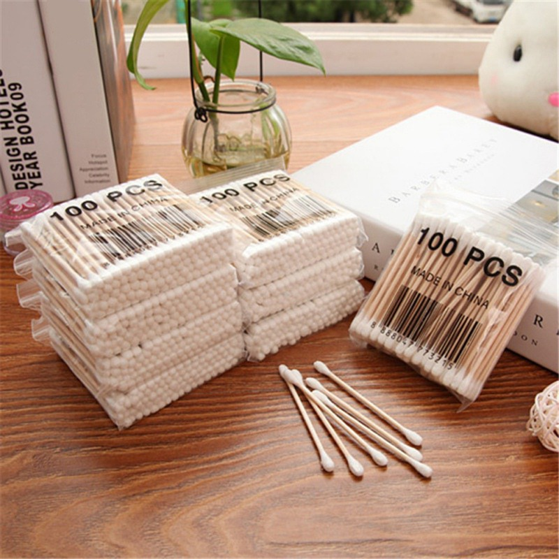Wooden Stick Double headed Cotton Swabs Sanitary Cotton Swabs Beauty Cotton Swabs Useful Cleaning Cotton Swabs 100PCS Pack in Makeup Organizers from Home Garden