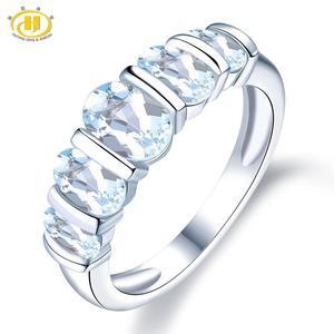 Image 1 - Hutang シルバーリング 925 ジュエリー、宝石 1.9ct アクアマリンリング女性のための石、婚約ウェディングブライダルリング