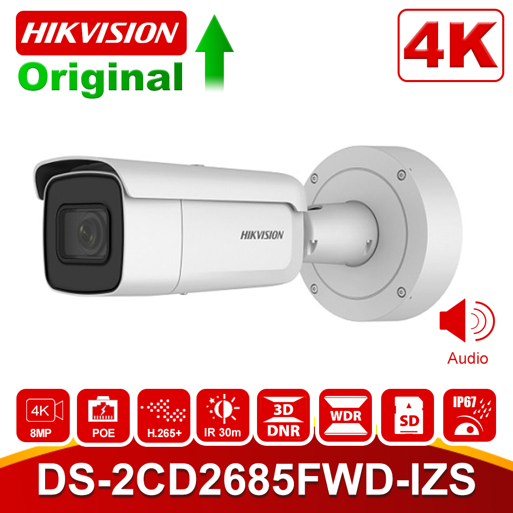 Hikvision Vari-focal 2.8-12mm Bullet IP Camera DS-2CD2685FWD-IZS 8 Megapixel Video Surveillance POE CCTV Camera H.265 IR 50m