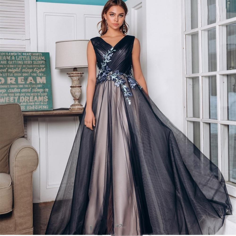 Elegant Prom Dress 2021 V-Neck A-Line Sleeveless Lace Appliques Floor length Brilliant Tulle Gorgeous For Women Special Occasion