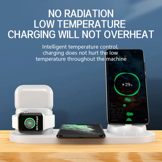 10W Qi Wireless Charger Station 6 in 1 For Iphone Airpods Micro USB Type C Stand phone Chargers For Apple Watch airpods Charging