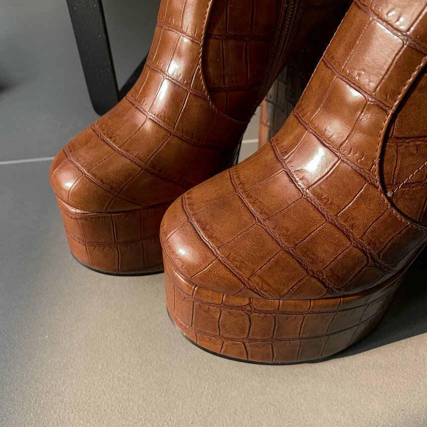 ESVEVA 2020 platformu yuvarlak ayak toka fermuar yarım çizmeler moda kare yüksek topuk PU deri sonbahar kış kadın ayakkabı Size34-43