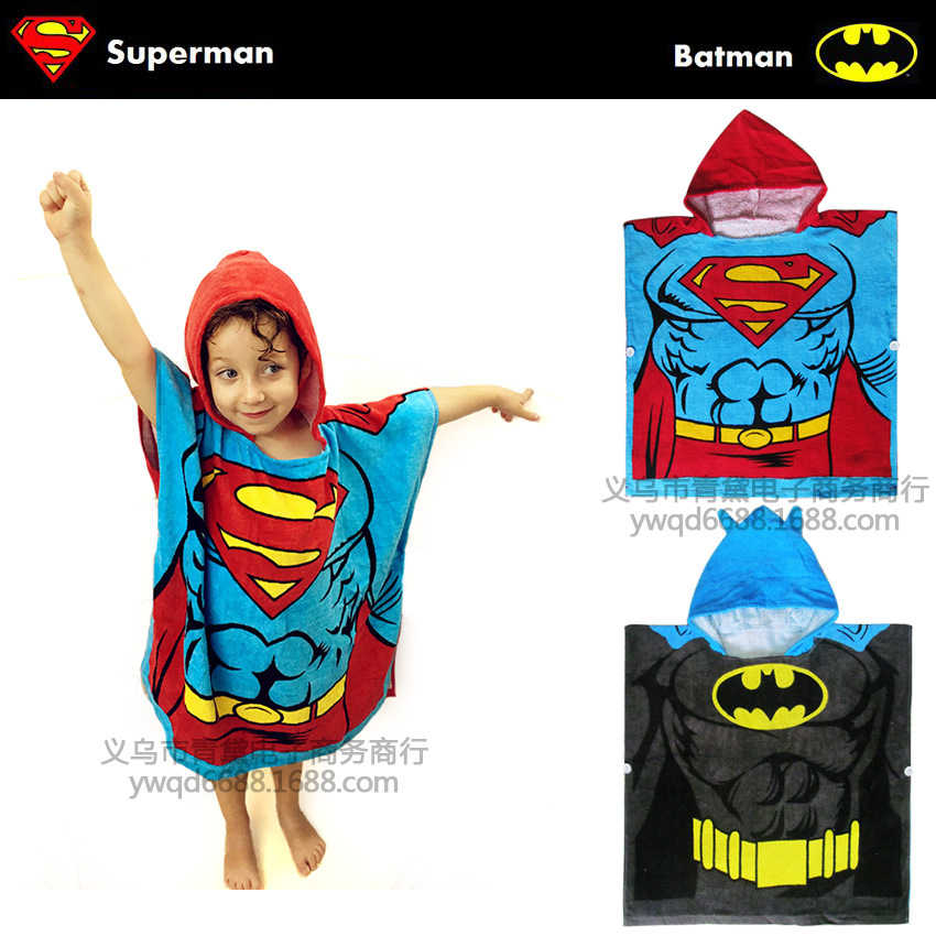 Hooded Bath Towel For Children Superman Batman Modeling Bathrobe Superman Batman Children Towel