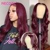Recool włosy 99J Burgundy ciało fala 5x5 zamknięcie koronki peruki ciało koronkowa fala zamknięcie koronki brazylijski Remy ludzki włos peruki dla czarnych kobiet
