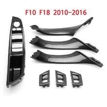 עבור BMW F10 F18 5 סדרת 2010 2016 7pcs פנים חלון מעלית מתג פנל דלת ידית לקצץ פחמן סיבי ABS רכב סטיילינג