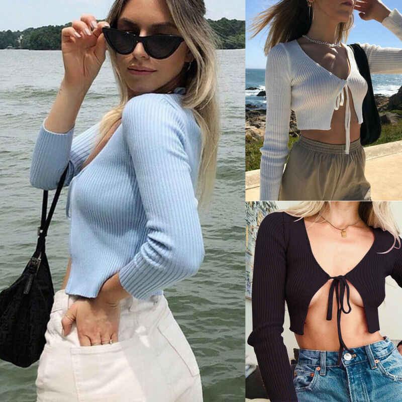 Herbst Frauen Tops Frauen Tops und T-Shirts V-ausschnitt Sexy Tops Open Langarm Kleidung Partei
