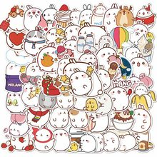 46pcs//Set Molang Kaninchen Etikett Aufkleber Dekorativ Adhensive VERKAUF cRUWK