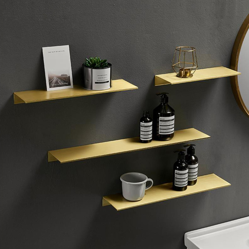 Brushed Gold Metal Bathroom Shelf Wall Storage Rack Washstand Drilling Large Wall Shelf For Storage 30/40/50/60cm Length