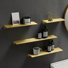 Scaffale da parete in metallo spazzolato con ripiano per bagno in metallo dorato spazzolato