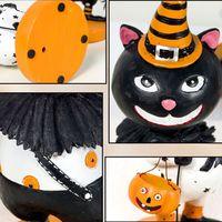 Halloween Props Pumpkin Black Cat Head Shaking Head Doll Resin Figurine Decor Party Favor Ornament D08D