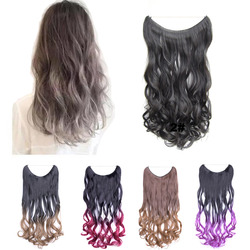 jeedou 100g 60cm Synthetic No Clips One Piece Hair Extension Black Gray Mix Color Natural Wavy Hair Convenient Hairpieces