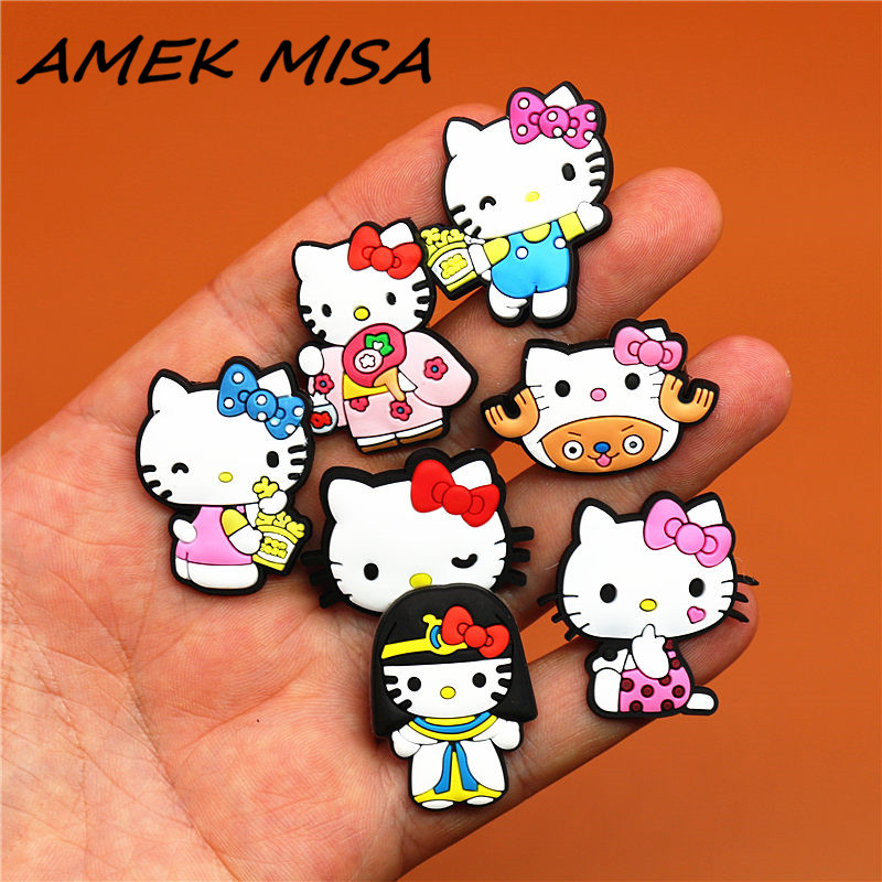 9pcs/Set PVC Cartoon Shoe Charms Cute Cosplay KT Cats Shoe Decorations Accessories Fit Croc Wristband JIBZ Party Kid's Gifts U94