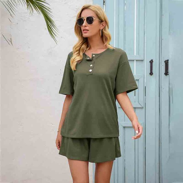 Summer Women's Suit Two Pieces Tracksuit Short Sleeve Sports Suits Women 2021 Casual Tracksuits Elastic Waist Lady Set 2