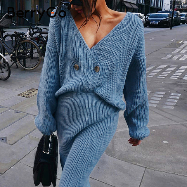 BerryGo Sexy v-neck women knitted skirt suits Autumn winter long sleeve two piece dress Elegant party female sweater dress blue