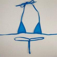 micro bikini Sexy swimwear women swimsuit women biquini mini bikinis Solid color Halter Small triangle Transparent String Thong