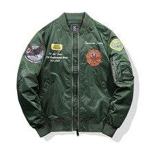 Kalınlaşmak termal Pilot MA1 ceket erkekler Tace ve köpekbalığı marka nakış bombacı ceket taktik askeri Parka erkekler uçak Streetwear