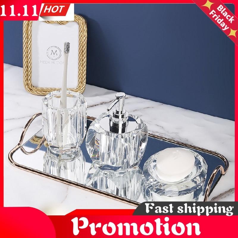 Nordic Four-piece Suit Crystal Glass Bathroom Accessories Soap Dispenser Mouth Cup Lotion Bottle Decoration Accessories