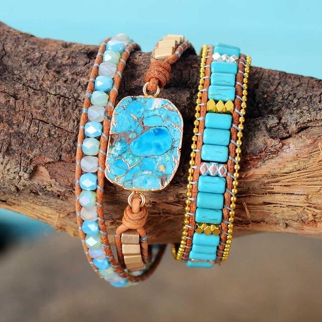 Cuir Turquoise Bracelet Pierre Porte-Bonheur