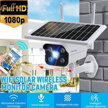 Солнечный Панель Камера Wi-Fi версии PTZ 4X 1080P проектор для домашнего Открытый безопасности Беспроводной монитор IP66 Водонепроницаемый CCTV Смарт...