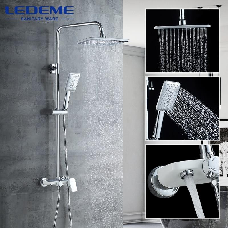 LEDEME Shower Sets Bathroom Shower Faucets Hot And Cold Mixer Brass Faucet Bathtub Shower Mixer Bathroom Faucet L2421W