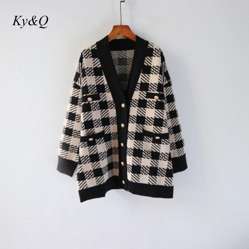 Vintage 2020 Winter Women Fashion Plaid V-neck Single Breasted Loose Sweater Long Cardigan Warm Outwear Brand Designer Clothes