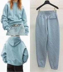 103381 2020 automne hiver à capuche bleu sweats lettre Logo mousse impression à manches longues haut femmes sport pantalons décontractés ensemble A2