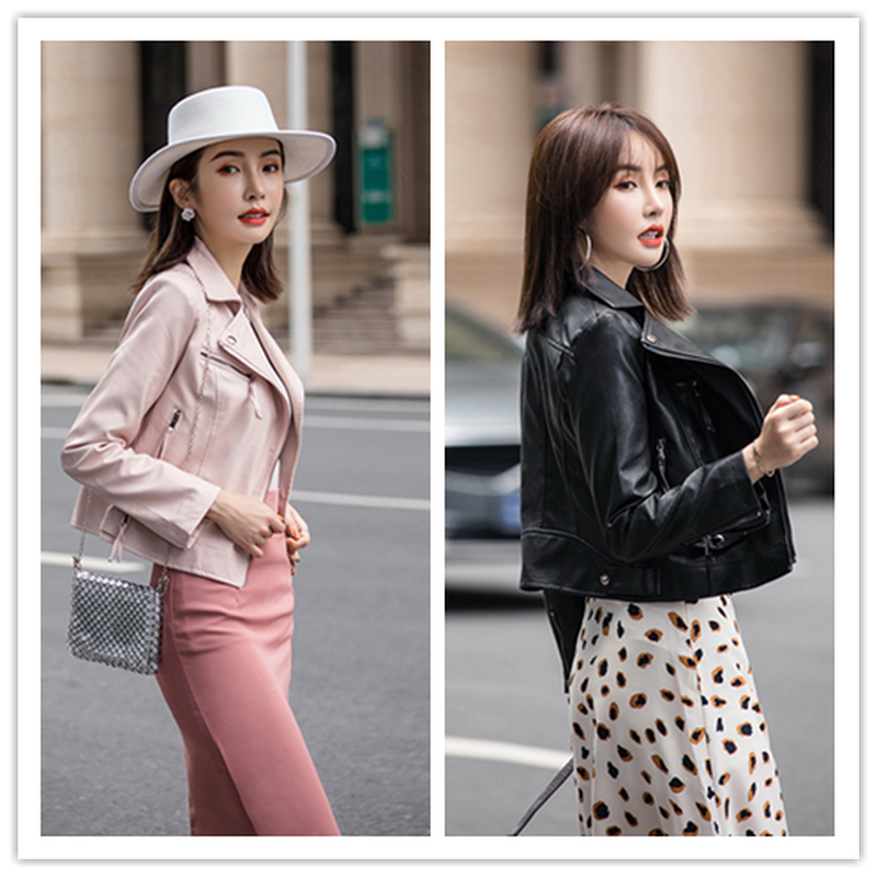 Women's   Leather   Short Jackets Autumn Black & Pink Simple Slim Cool Lady PU Faux   Leather   Motorcycle Jacket Streetwear Hip Hop Top