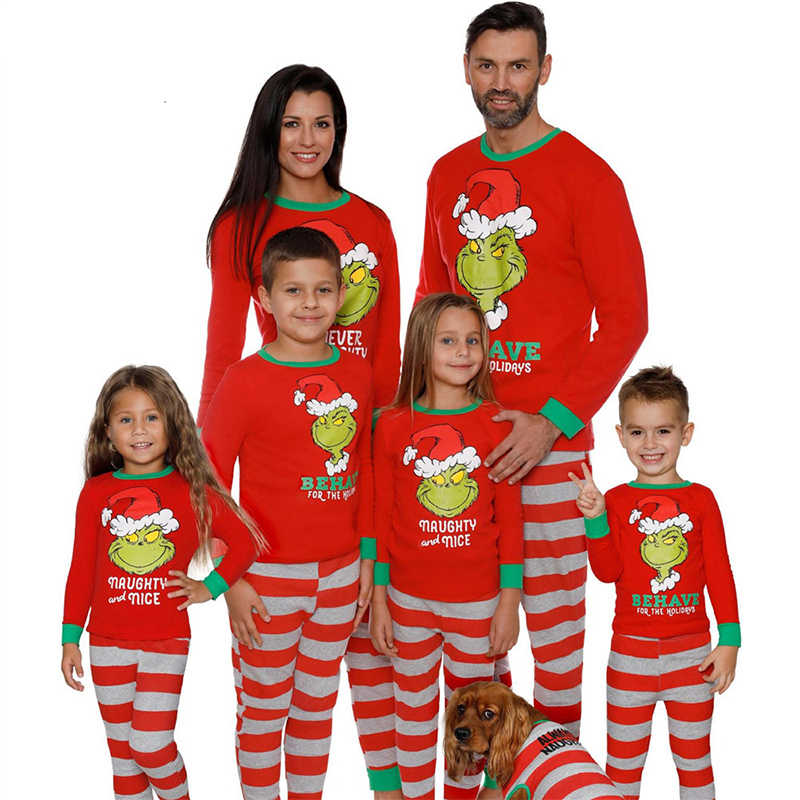 2019 Cotton Family Matching Sleepwear Clothes Pajamas Set Cartoon Print Christmas Pajamas Kids & Parent Warm Nightwear Clothing