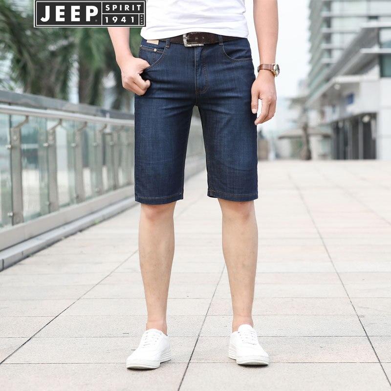Jeep/Jeep Summer MEN'S Jeans Shorts Shorts Bags Elasticity Straight-Cut Medium Waist Large Size Men's Middle Pants